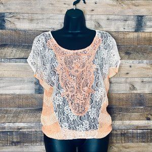 Daytrip Lace Short Sleeve Blouse Size Small